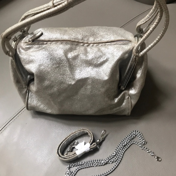 Sondra Roberts Handbags - Silver fabric, very unusual and cool satchel bag